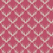 Lewis & Irene A Walk in the Glen - 4868 - Antlers on Bright Coral - A157.2 - Cotton Fabric